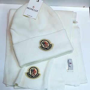 Moncler Men's White Hat+Scarves Nwt Casual